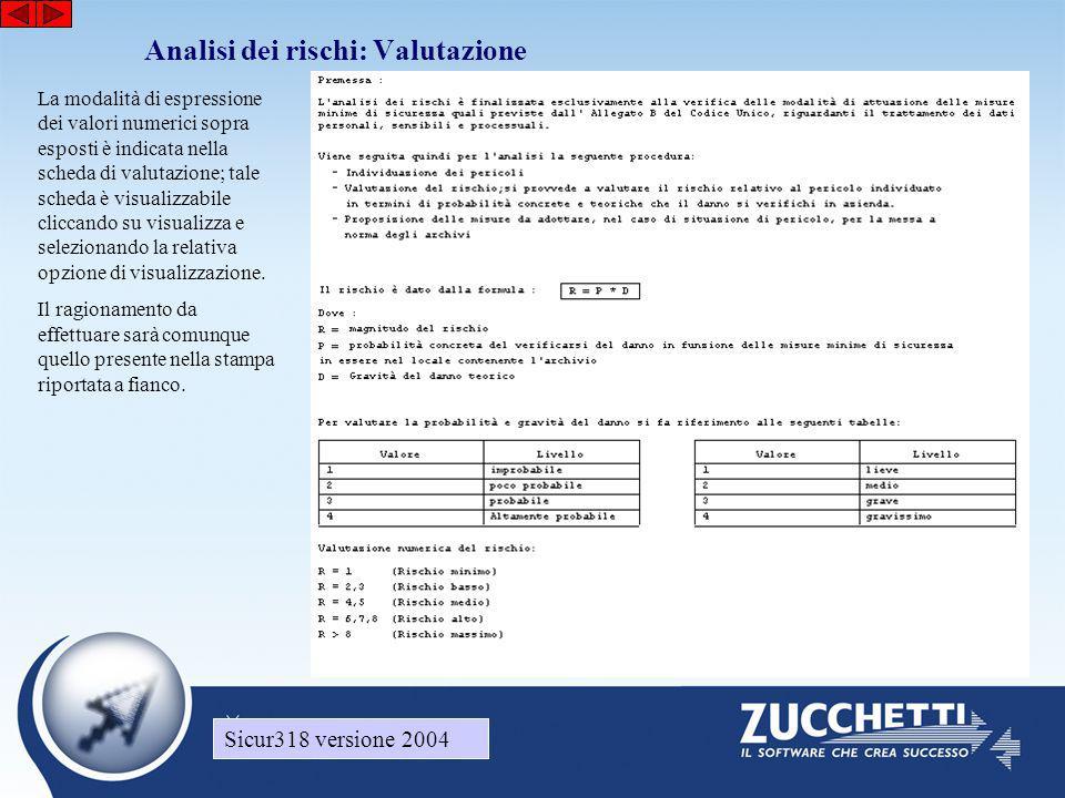 Sicur318 versione 2004 Analisi dei rischi: Valutazione Sicur318 versione 2004 La modalità di espressione dei valori numerici sopra esposti è indicata nella scheda di valutazione; tale scheda è visualizzabile cliccando su visualizza e selezionando la relativa opzione di visualizzazione.