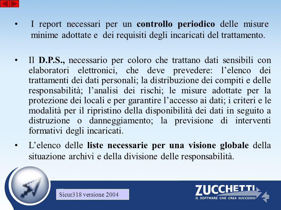 Sicur318 versione 2004 •I report necessari per un controllo periodico delle misure minime adottate e dei requisiti degli incaricati del trattamento. •
