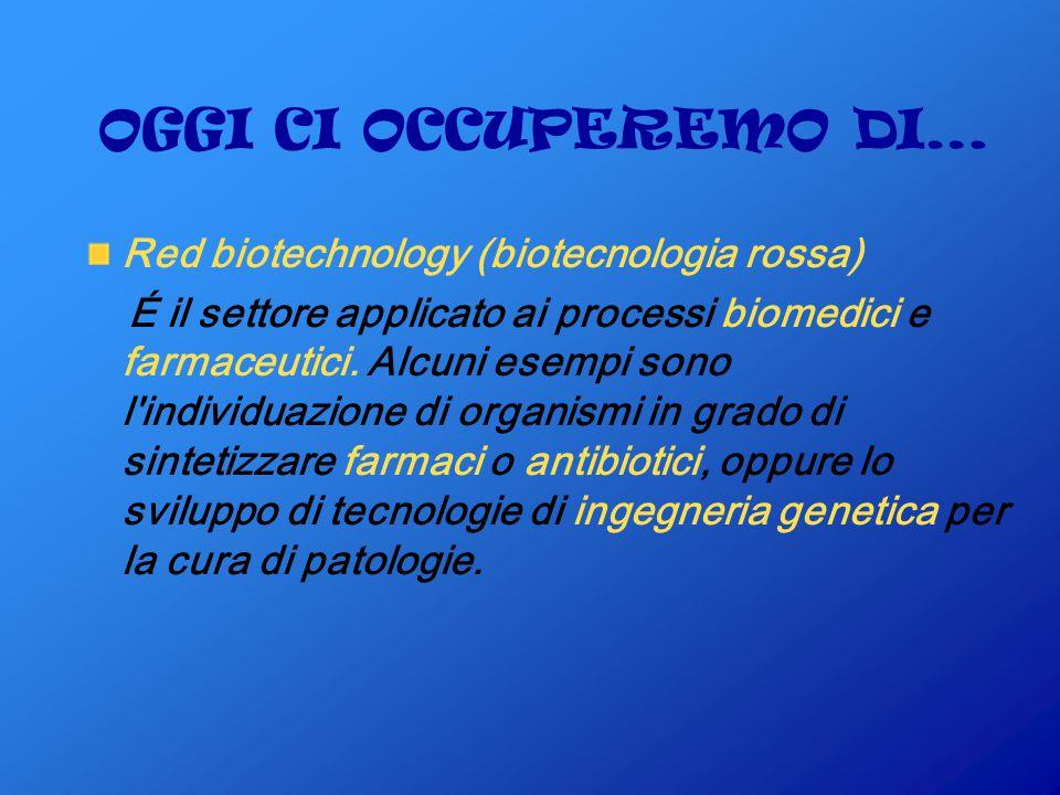 OGGI CI OCCUPEREMO DI… Red biotechnology (biotecnologia rossa) É il settore applicato ai processi biomedici e farmaceutici.