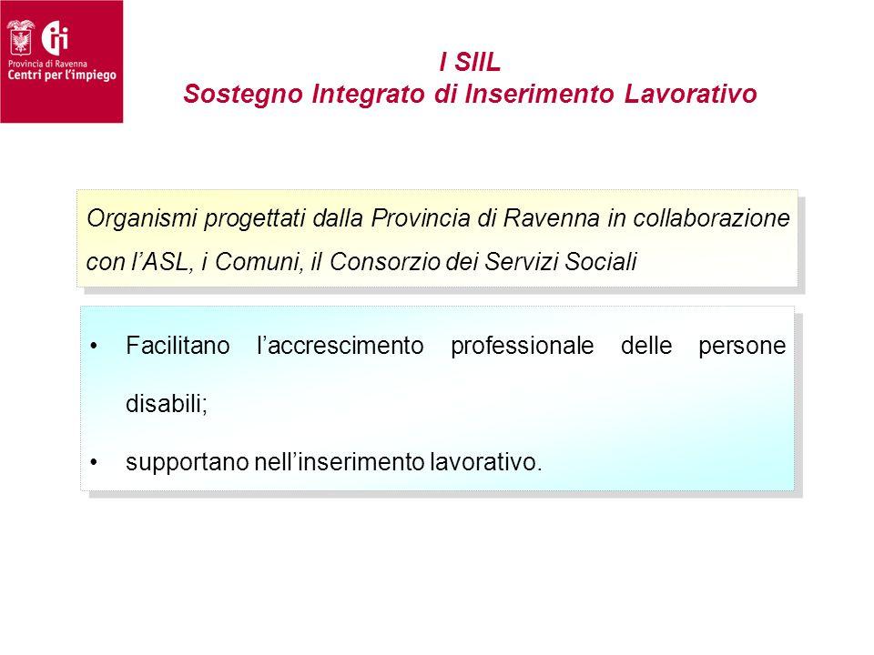 I SIIL Sostegno Integrato di Inserimento Lavorativo Organismi progettati dalla Provincia di Ravenna in collaborazione con l'ASL, i Comuni, il Consorzi