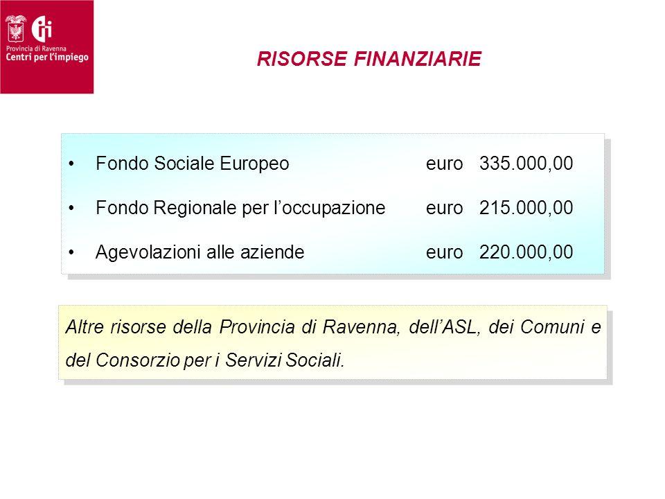 RISORSE FINANZIARIE Altre risorse della Provincia di Ravenna, dell'ASL, dei Comuni e del Consorzio per i Servizi Sociali. •Fondo Sociale Europeoeuro33
