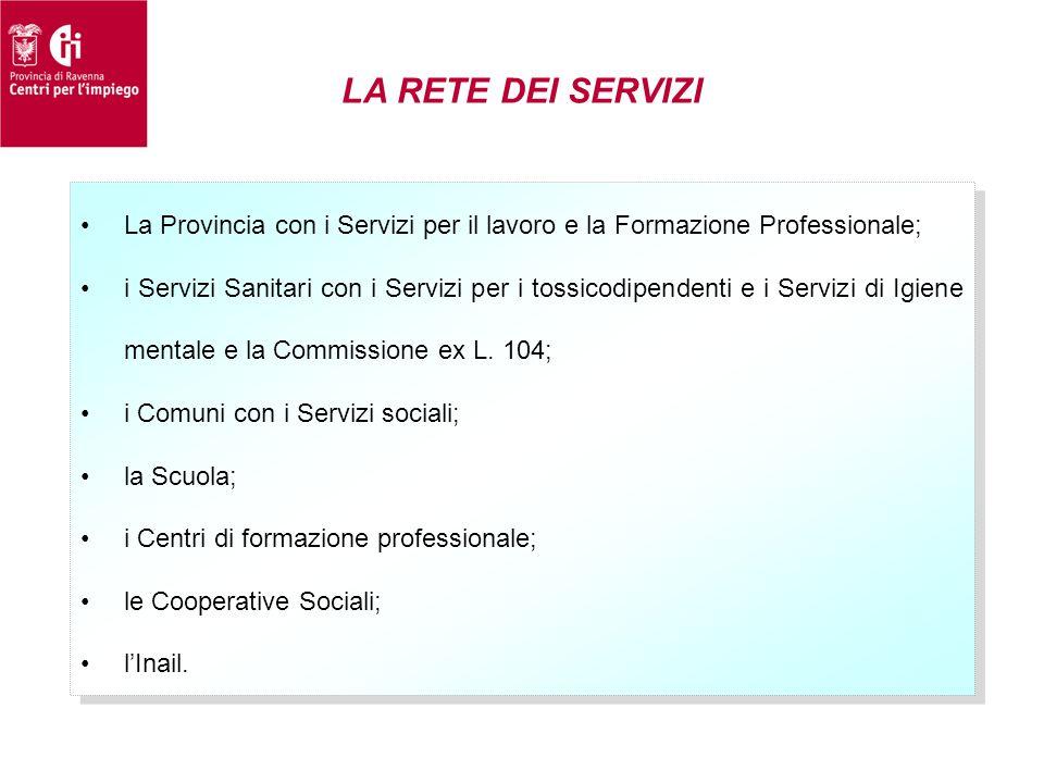 LA RETE DEI SERVIZI •La Provincia con i Servizi per il lavoro e la Formazione Professionale; •i Servizi Sanitari con i Servizi per i tossicodipendenti
