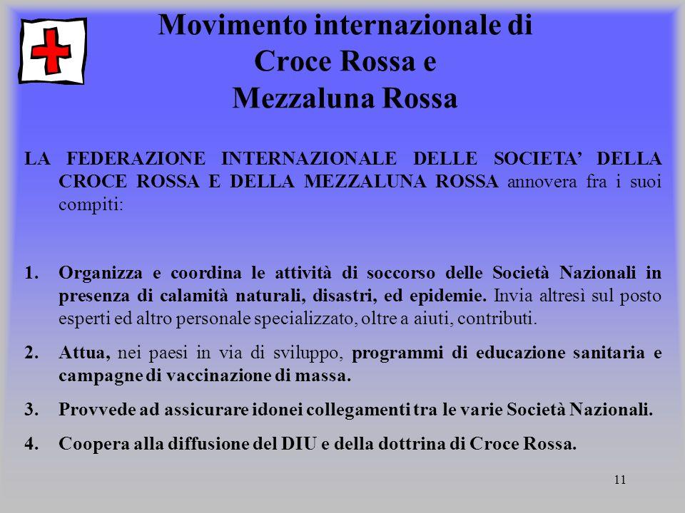 11 Movimento internazionale di Croce Rossa e Mezzaluna Rossa LA FEDERAZIONE INTERNAZIONALE DELLE SOCIETA' DELLA CROCE ROSSA E DELLA MEZZALUNA ROSSA an