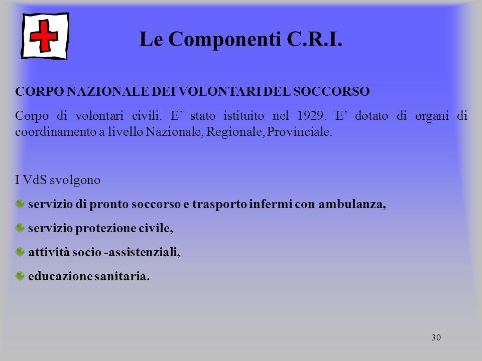 30 Le Componenti C.R.I. CORPO NAZIONALE DEI VOLONTARI DEL SOCCORSO Corpo di volontari civili. E' stato istituito nel 1929. E' dotato di organi di coor