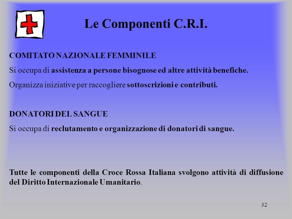 32 Le Componenti C.R.I. COMITATO NAZIONALE FEMMINILE Si occupa di assistenza a persone bisognose ed altre attività benefiche. Organizza iniziative per
