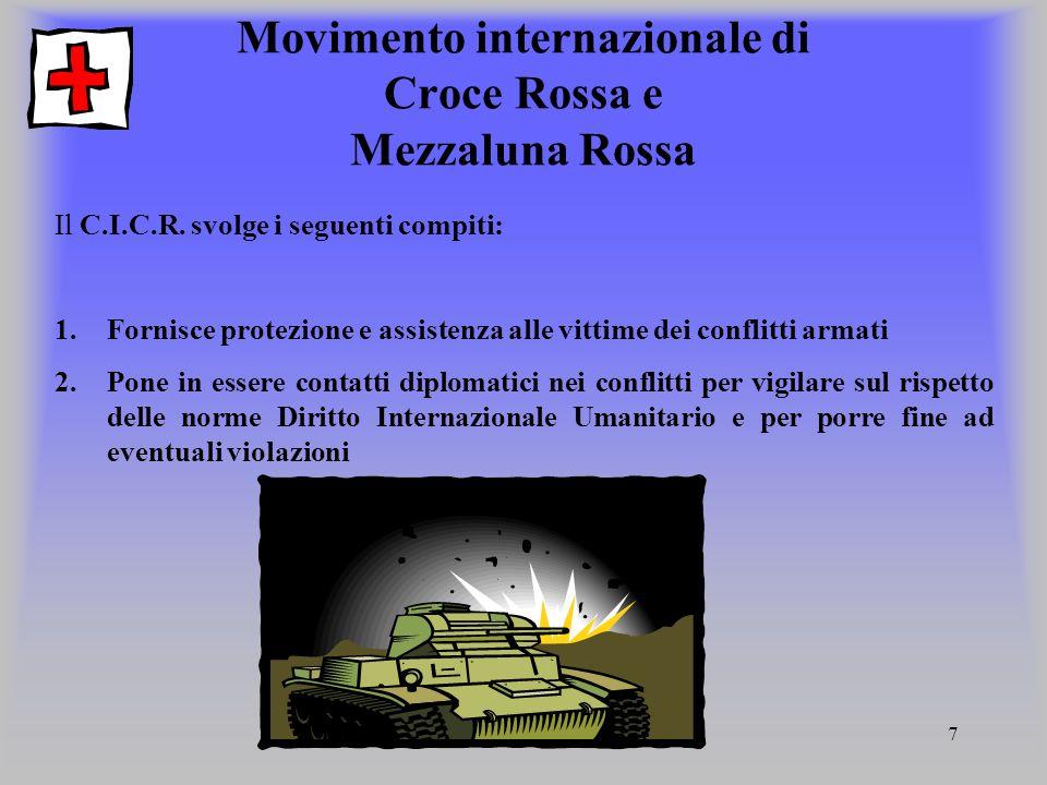 7 Movimento internazionale di Croce Rossa e Mezzaluna Rossa Il C.I.C.R. svolge i seguenti compiti: 1.Fornisce protezione e assistenza alle vittime dei