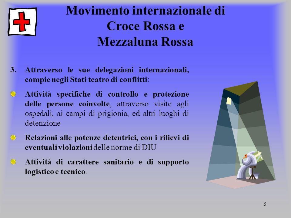 8 Movimento internazionale di Croce Rossa e Mezzaluna Rossa 3.Attraverso le sue delegazioni internazionali, compie negli Stati teatro di conflitti: At