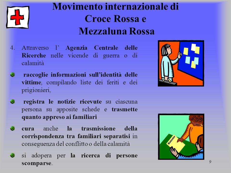 9 Movimento internazionale di Croce Rossa e Mezzaluna Rossa 4.Attraverso l' Agenzia Centrale delle Ricerche nelle vicende di guerra o di calamità racc