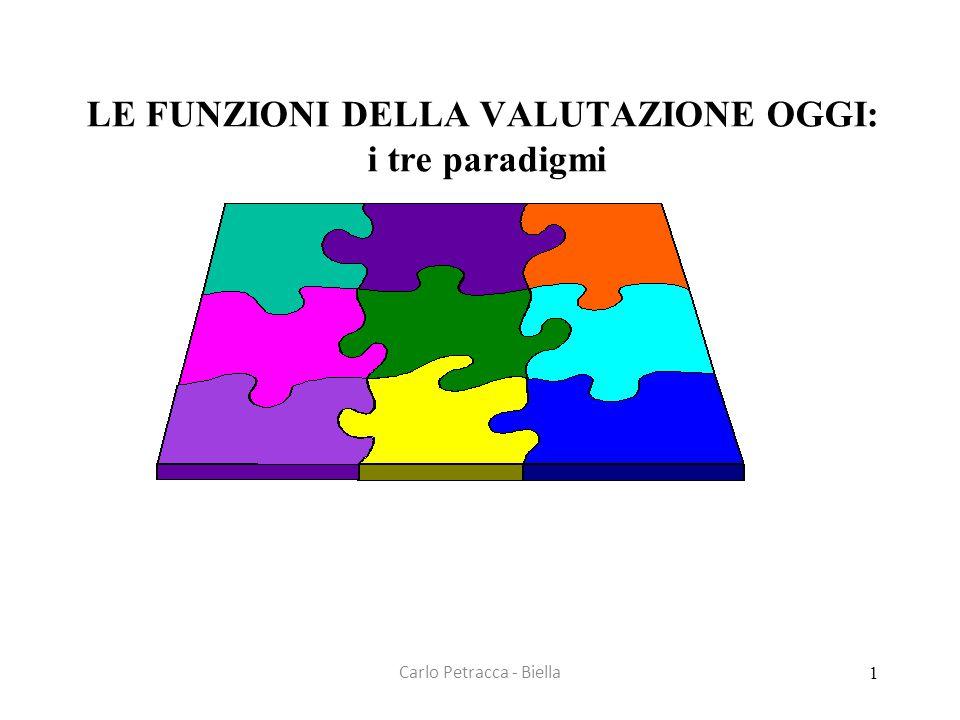 Carlo Petracca - Biella LE FUNZIONI DELLA VALUTAZIONE OGGI: i tre paradigmi 1