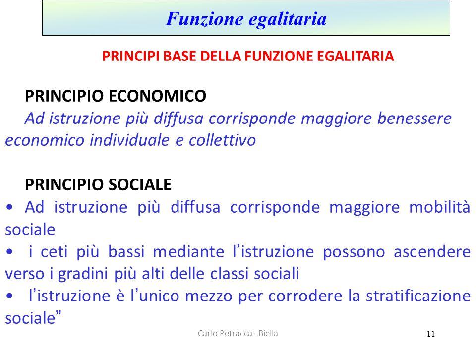 Carlo Petracca - Biella Funzione egalitaria PRINCIPI BASE DELLA FUNZIONE EGALITARIA PRINCIPIO ECONOMICO Ad istruzione più diffusa corrisponde maggiore