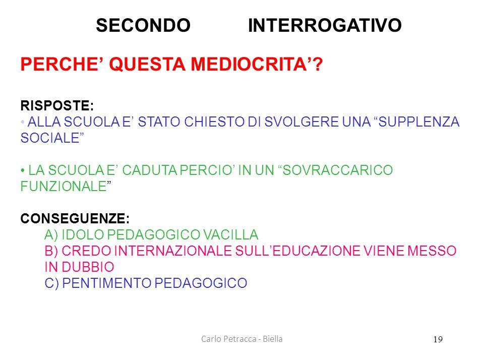 """Carlo Petracca - Biella SECONDO INTERROGATIVO PERCHE' QUESTA MEDIOCRITA'? RISPOSTE: • ALLA SCUOLA E' STATO CHIESTO DI SVOLGERE UNA """"SUPPLENZA SOCIALE"""""""
