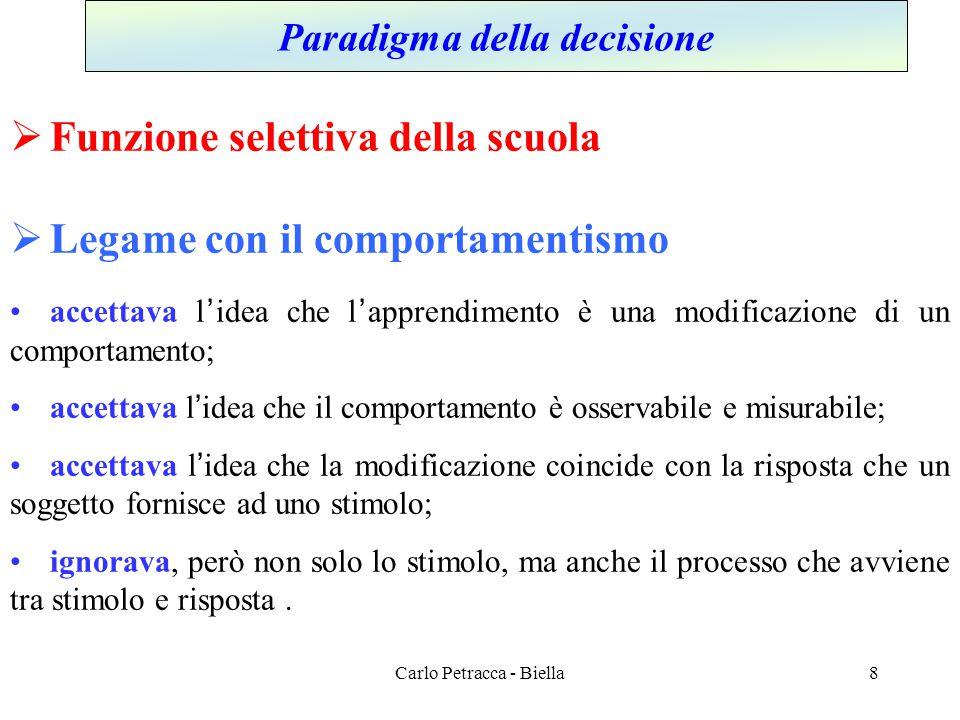 Carlo Petracca - Biella Paradigma della decisione  Funzione selettiva della scuola  Legame con il comportamentismo •accettava l'idea che l'apprendim