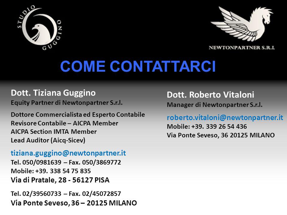 COME CONTATTARCI Dott. Tiziana Guggino Equity Partner di Newtonpartner S.r.l. Dottore Commercialista ed Esperto Contabile Revisore Contabile – AICPA M