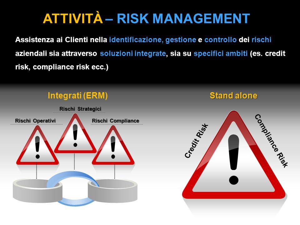 ATTIVITÀ – RISK MANAGEMENT Stand alone Assistenza ai Clienti nella identificazione, gestione e controllo dei rischi aziendali sia attraverso soluzioni