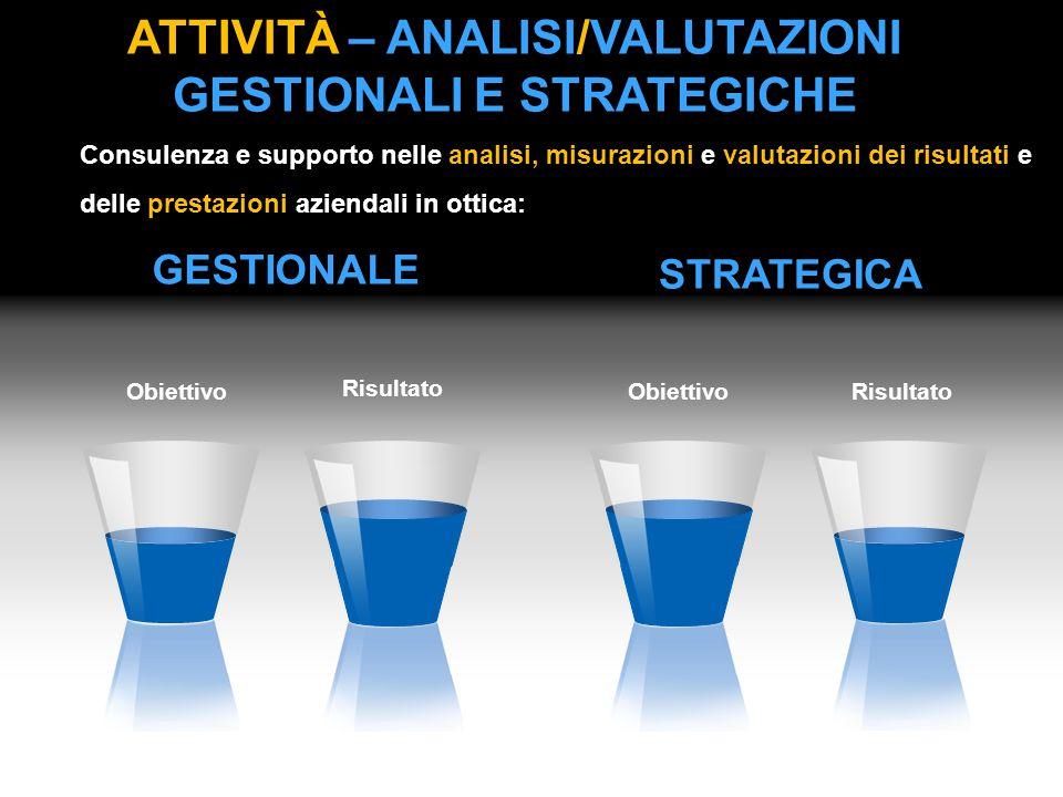 ATTIVITÀ – ANALISI/VALUTAZIONI GESTIONALI E STRATEGICHE Consulenza e supporto nelle analisi, misurazioni e valutazioni dei risultati e delle prestazio