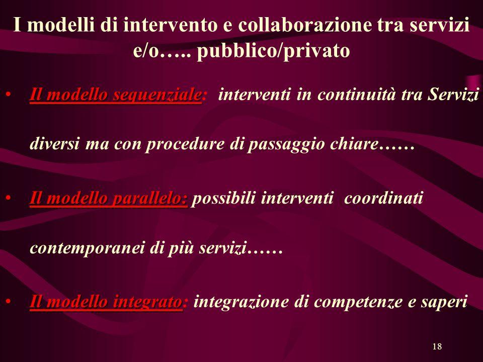 18 I modelli di intervento e collaborazione tra servizi e/o…..