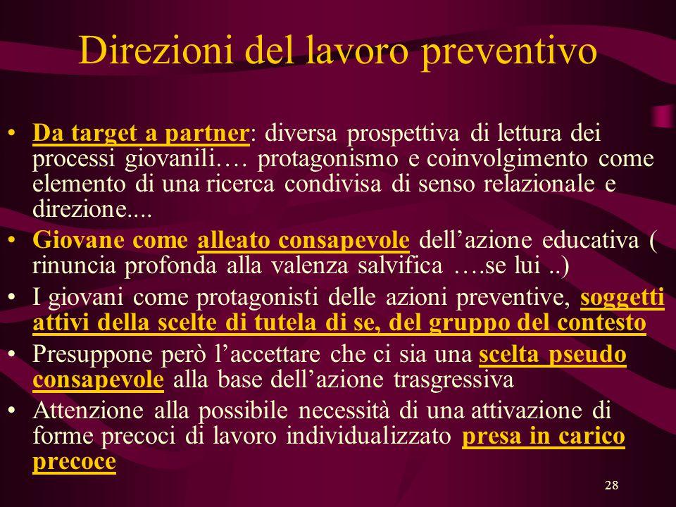 28 Direzioni del lavoro preventivo •Da target a partner: diversa prospettiva di lettura dei processi giovanili….