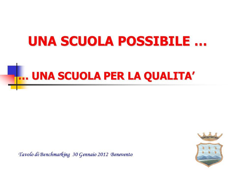 UNA SCUOLA POSSIBILE … … UNA SCUOLA PER LA QUALITA' … UNA SCUOLA PER LA QUALITA' Tavolo di Benchmarking 30 Gennaio 2012 Benevento