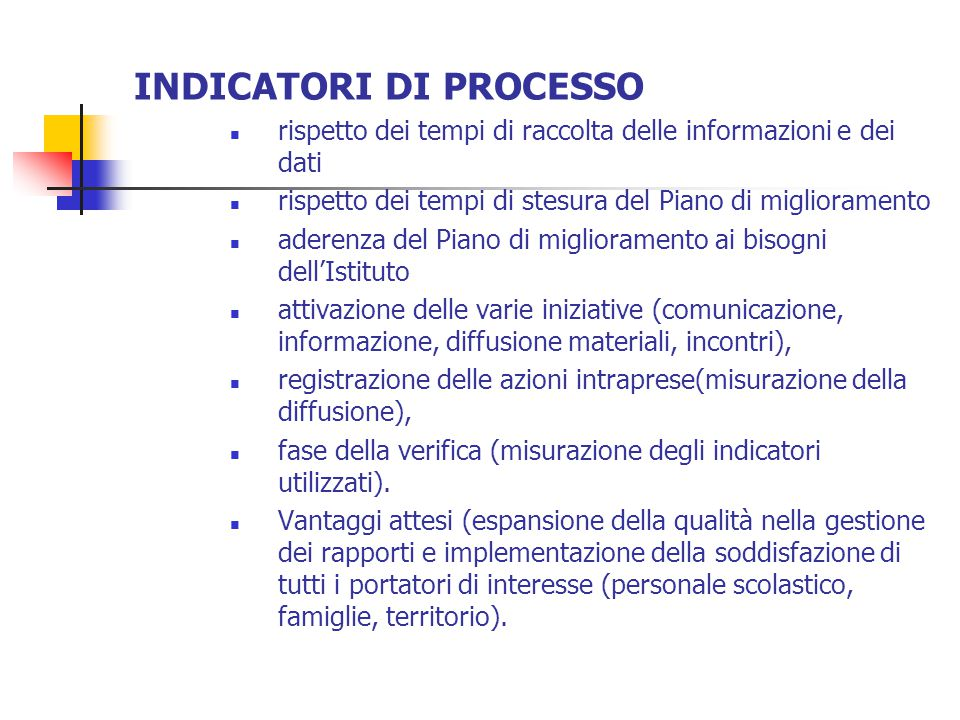 INDICATORI DI PROCESSO  rispetto dei tempi di raccolta delle informazioni e dei dati  rispetto dei tempi di stesura del Piano di miglioramento  ade
