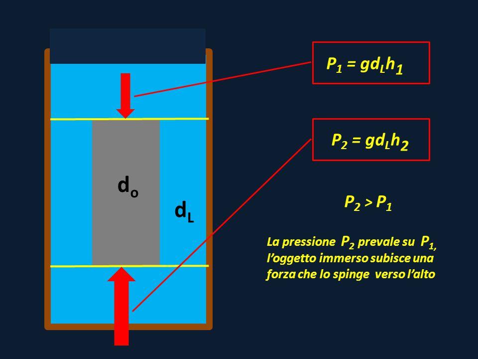 P 1 = gd L h 1 dodo P 2 = gd L h 2 P 2 > P 1 La pressione P 2 prevale su P 1, l'oggetto immerso subisce una forza che lo spinge verso l'alto dLdL