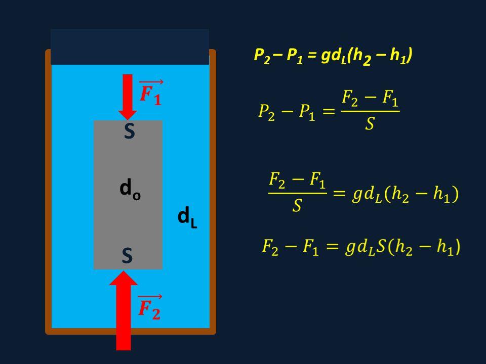 dodo dLdL P 2 – P 1 = gd L (h 2 – h 1 ) S S