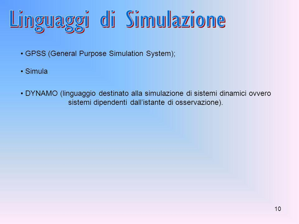 9 1.produrre dati relativi a simulazioni di eventi per tempi anche molto lunghi; Esempio: nella simulazione si può aggiungere un ulteriore centro di s