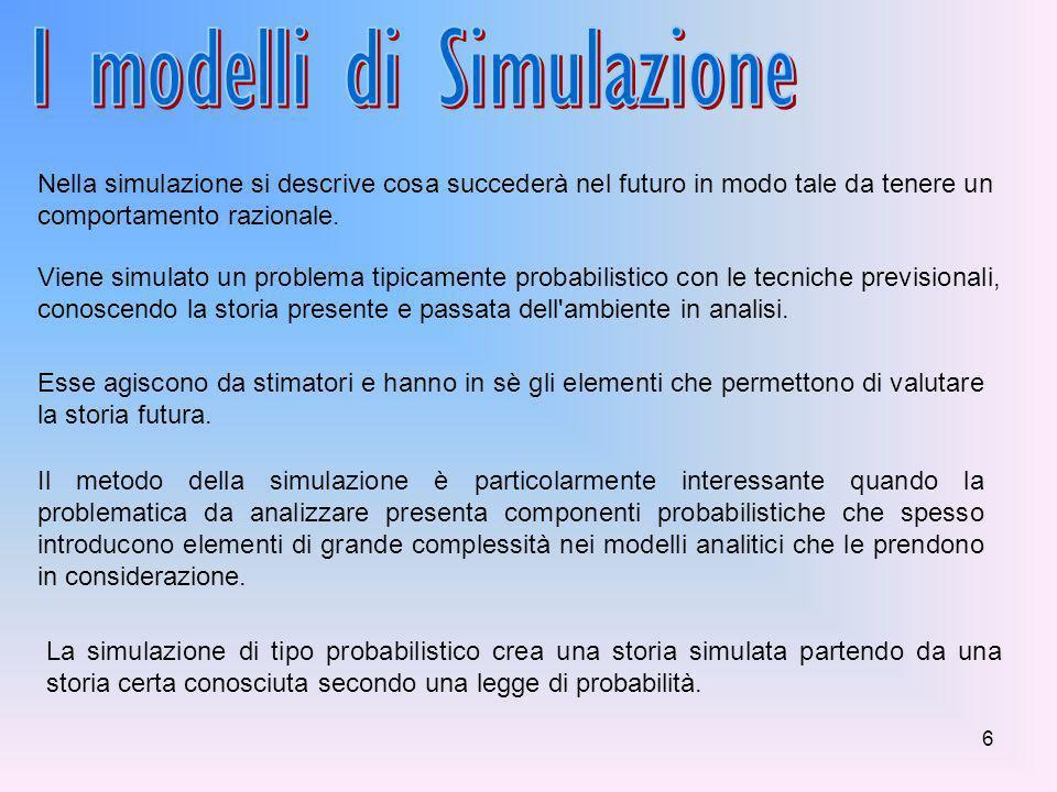 6 Nella simulazione si descrive cosa succederà nel futuro in modo tale da tenere un comportamento razionale.