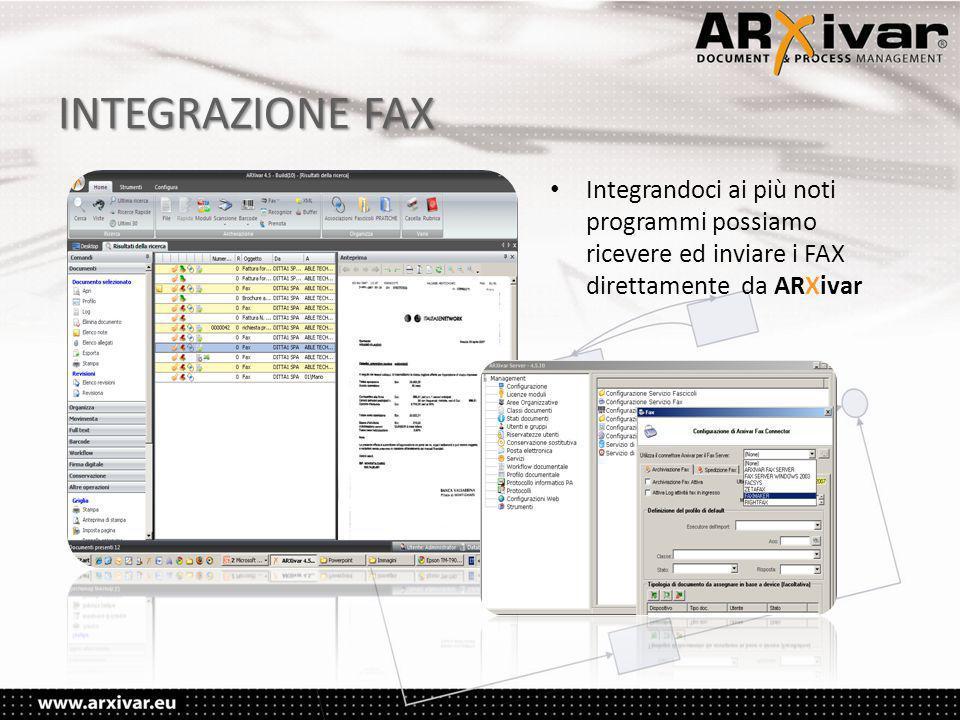 INTEGRAZIONE FAX • Integrandoci ai più noti programmi possiamo ricevere ed inviare i FAX direttamente da ARXivar