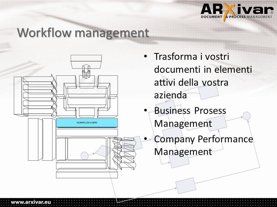 Workflow management • Trasforma i vostri documenti in elementi attivi della vostra azienda • Business Prosess Management • Company Performance Management
