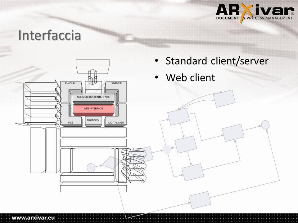 Interfaccia • Standard client/server • Web client