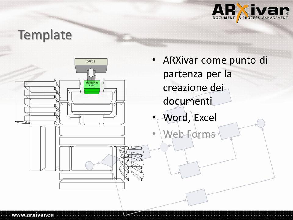 Template • ARXivar come punto di partenza per la creazione dei documenti • Word, Excel • Web Forms