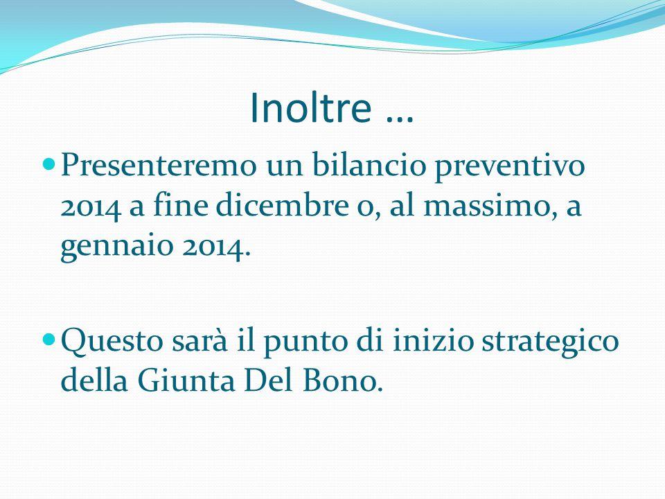 Inoltre …  Presenteremo un bilancio preventivo 2014 a fine dicembre o, al massimo, a gennaio 2014.  Questo sarà il punto di inizio strategico della