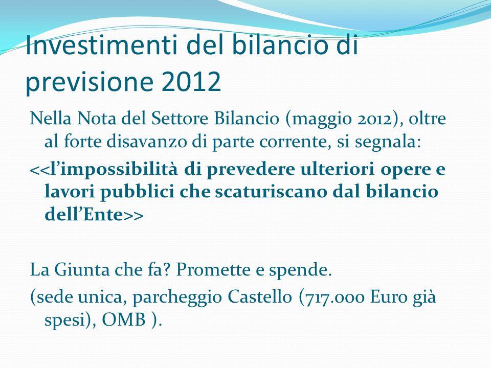 Investimenti del bilancio di previsione 2012 Nella Nota del Settore Bilancio (maggio 2012), oltre al forte disavanzo di parte corrente, si segnala: >