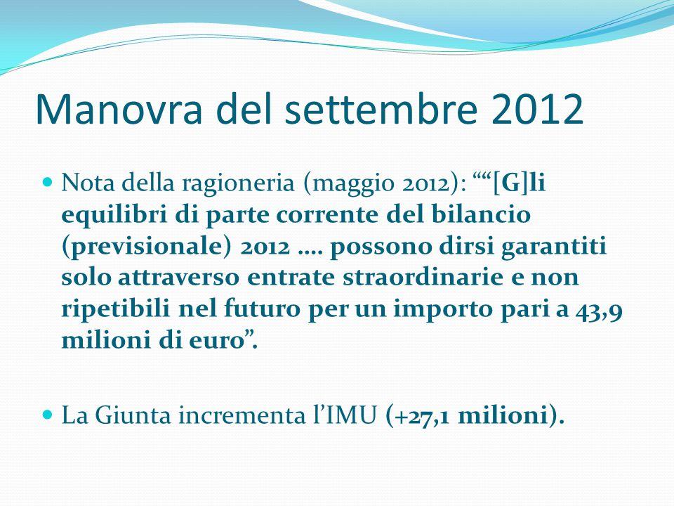 """Manovra del settembre 2012  Nota della ragioneria (maggio 2012): """"""""[G]li equilibri di parte corrente del bilancio (previsionale) 2012 …. possono dirs"""