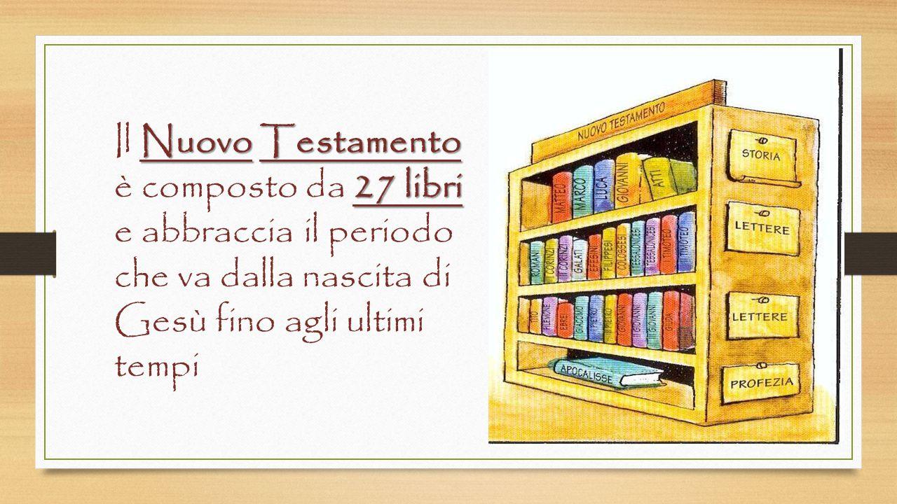 Antico Testamento 46 libri L'Antico Testamento è composto da 46 libri e comprende il periodo che va dalla creazione del mondo fino alla nascita di Gesù.