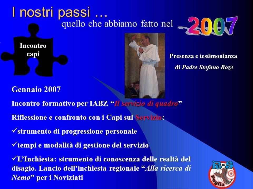 """I nostri passi … quello che abbiamo fatto nel Incontro capi Gennaio 2007 Il servizio di quadro Incontro formativo per IABZ """"Il servizio di quadro"""" Ser"""