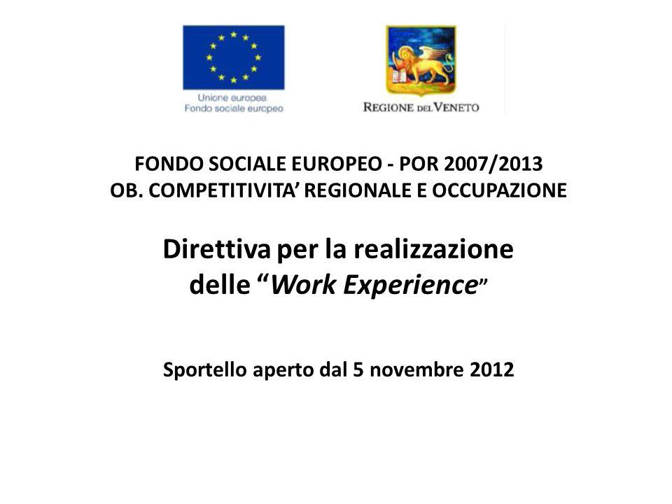 """FONDO SOCIALE EUROPEO - POR 2007/2013 OB. COMPETITIVITA' REGIONALE E OCCUPAZIONE Direttiva per la realizzazione delle """"Work Experience """" Sportello ape"""