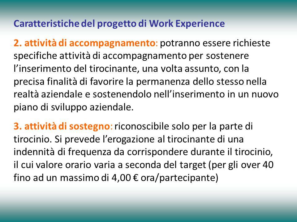 Caratteristiche del progetto di Work Experience 2. attività di accompagnamento: potranno essere richieste specifiche attività di accompagnamento per s