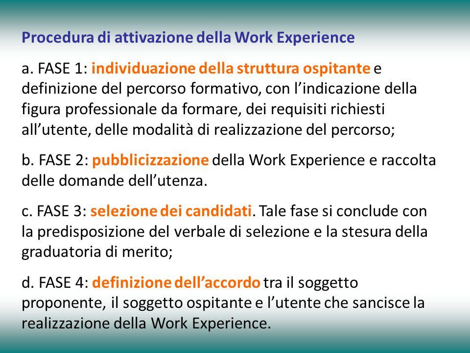 Procedura di attivazione della Work Experience a. FASE 1: individuazione della struttura ospitante e definizione del percorso formativo, con l'indicaz