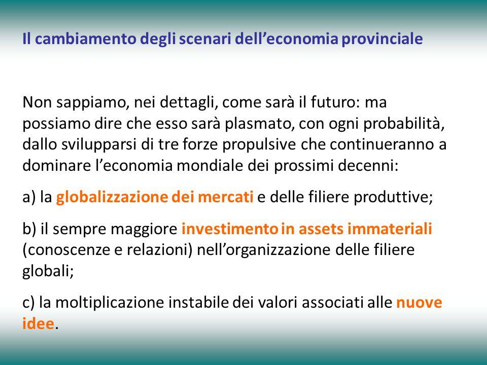 Il cambiamento degli scenari dell'economia provinciale Non sappiamo, nei dettagli, come sarà il futuro: ma possiamo dire che esso sarà plasmato, con ogni probabilità, dallo svilupparsi di tre forze propulsive che continueranno a dominare l'economia mondiale dei prossimi decenni: a) la globalizzazione dei mercati e delle filiere produttive; b) il sempre maggiore investimento in assets immateriali (conoscenze e relazioni) nell'organizzazione delle filiere globali; c) la moltiplicazione instabile dei valori associati alle nuove idee.