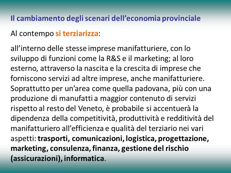 Il cambiamento degli scenari dell'economia provinciale Al contempo si terziarizza: all'interno delle stesse imprese manifatturiere, con lo sviluppo di funzioni come la R&S e il marketing; al loro esterno, attraverso la nascita e la crescita di imprese che forniscono servizi ad altre imprese, anche manifatturiere.
