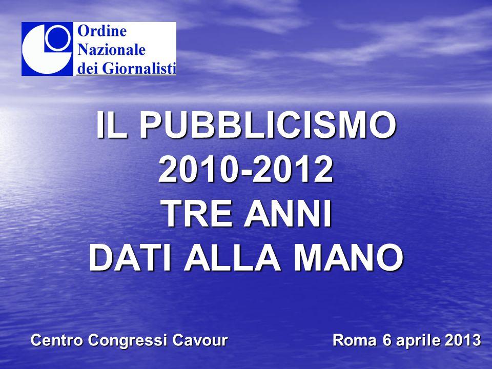IL PUBBLICISMO 2010-2012 TRE ANNI DATI ALLA MANO Centro Congressi Cavour Roma 6 aprile 2013