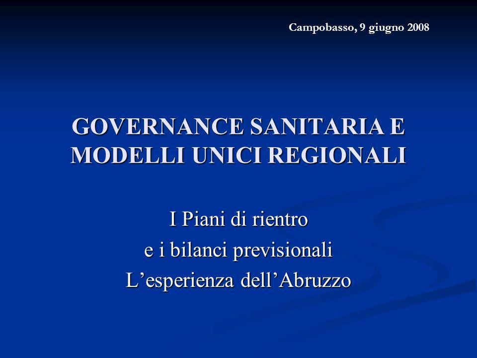 GOVERNANCE SANITARIA E MODELLI UNICI REGIONALI I Piani di rientro e i bilanci previsionali L'esperienza dell'Abruzzo Campobasso, 9 giugno 2008