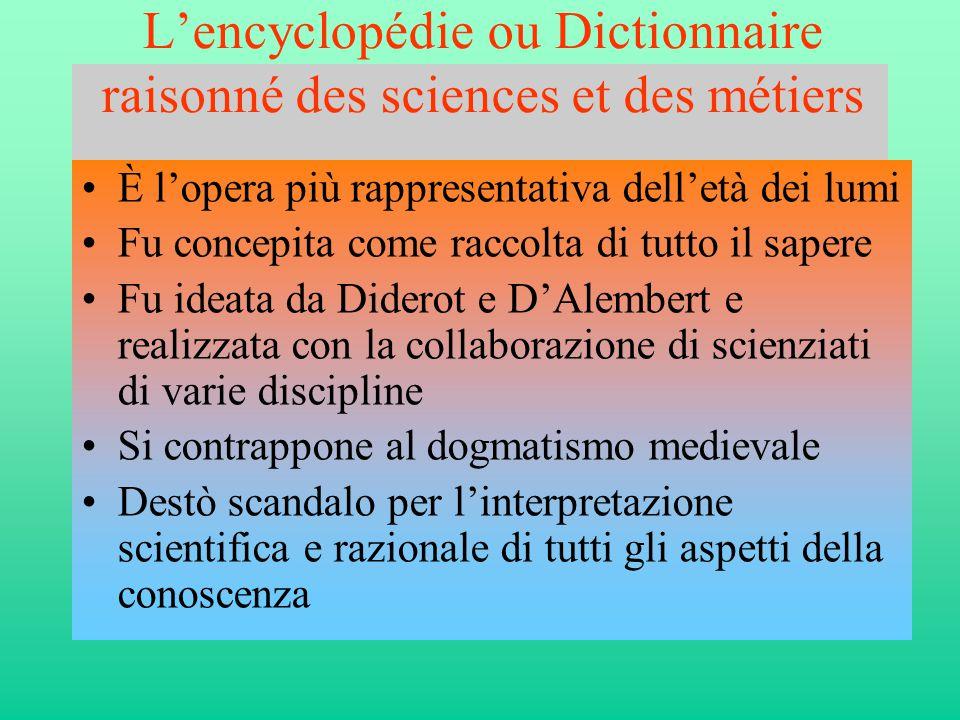 L'encyclopédie ou Dictionnaire raisonné des sciences et des métiers •È l'opera più rappresentativa dell'età dei lumi •Fu concepita come raccolta di tu