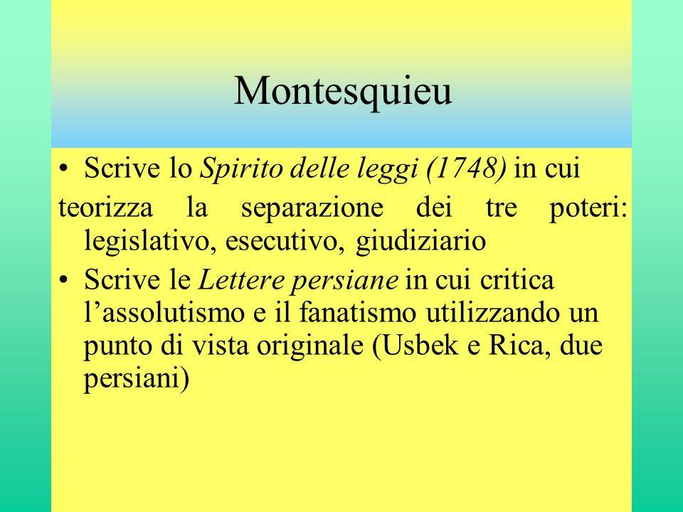 Montesquieu •Scrive lo Spirito delle leggi (1748) in cui teorizza la separazione dei tre poteri: legislativo, esecutivo, giudiziario •Scrive le Letter