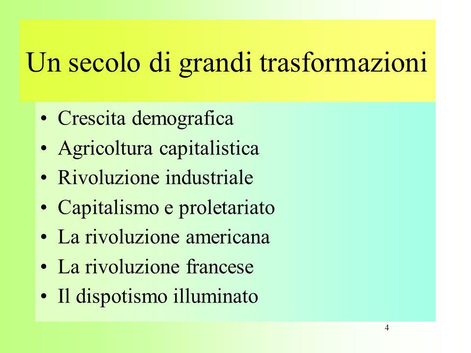 Un secolo di grandi trasformazioni •Crescita demografica •Agricoltura capitalistica •Rivoluzione industriale •Capitalismo e proletariato •La rivoluzio