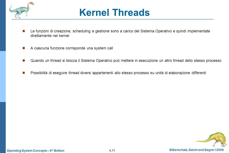 4.11 Silberschatz, Galvin and Gagne ©2009 Operating System Concepts – 8 th Edition Kernel Threads  Le funzioni di creazione, scheduling e gestione so