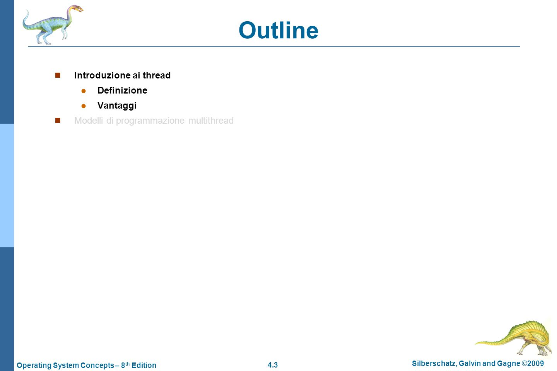 4.4 Silberschatz, Galvin and Gagne ©2009 Operating System Concepts – 8 th Edition Motivazioni  Nel modello a processi, ogni processo ha il suo spazio di indirizzamento privato ed il modo per interagire è quello di utilizzare i meccanismi di IPC messi a disposizione dal sistema  Es.: send, receive  Questo implica alti costi di interazione, se i dati da scambiare sono molti poiché il context-switch è un'operazione costosa.