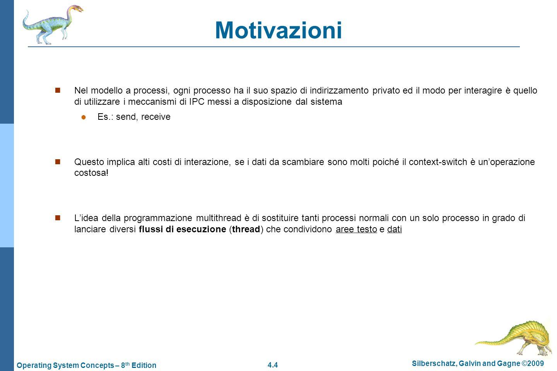 4.4 Silberschatz, Galvin and Gagne ©2009 Operating System Concepts – 8 th Edition Motivazioni  Nel modello a processi, ogni processo ha il suo spazio