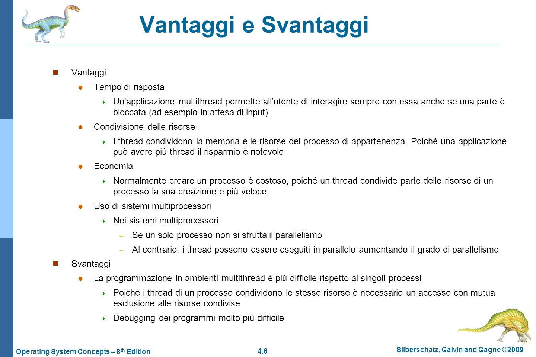 4.6 Silberschatz, Galvin and Gagne ©2009 Operating System Concepts – 8 th Edition Vantaggi e Svantaggi  Vantaggi  Tempo di risposta  Un'applicazion